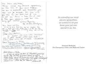 Dr Schafgans & staff card page 2